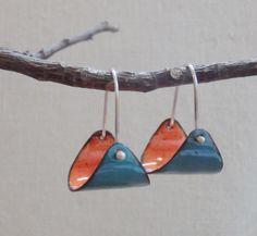 Ronda Whitaker, enameled copper earrings