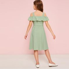 Beautiful Green Cold Shoulder Ruffle Trim Belted Shirt Dress - Home Decor Ideas Kids Dress Wear, Dresses Kids Girl, Cord Pinafore Dress, Frock Patterns, Belted Shirt Dress, Ruffle Shirt, Ruffle Trim, Fashion Dresses, Dresses With Sleeves