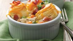 What could make an easy chicken pot pie even better?  A convenient flaky biscuit topping and crisp bacon.