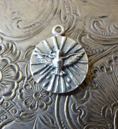 Holy Spirit Dove / Holy Trinity Italian Catholic Medal, Vintage Jewelry Pendant Circa 1950's, Father Son & Holy Ghost Religious Medallion