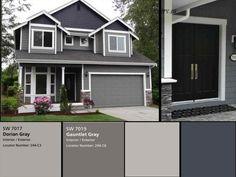 Exterior Gray Paint, Exterior Paint Colors For House, Paint Colors For Home, Exterior Colors, Paint Colours, Siding Colors, Grey Paint, Outside House Paint Colors, Exterior Color Palette