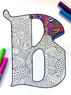 Letter B Zentangle Inspired by the font Deutsch por DJPenscript