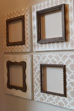 "pattern frames - to make 3 large frames for office with cork board - smaller frame but use cool moulding to make a ""routered"" edge to hold in the cork board"