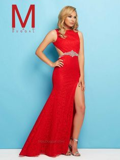 Red Prom Gown with Side Cutouts | Mac Duggal 40541L