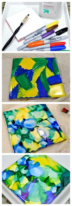 """You can make beautiful """"painted"""" tiles with Sharpies and rubbing alcohol. This full tutorial will show you how to paint with Sharpies and alcohol!"""