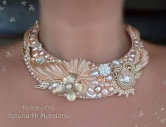 Neckpiece by Serena Di Mercione. Bead and pearl embroidery with shibori silk and soutache. (Many more nice pieces on this site). Ribbon Jewelry, Bead Embroidery Jewelry, Soutache Jewelry, Fabric Jewelry, Jewelry Crafts, Beaded Jewelry, Handmade Jewelry, Beaded Necklace, Necklaces