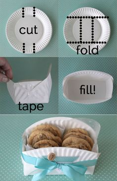 what a cool diy idea - make a cookie gift basket from a paper plate!