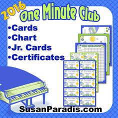 One minute club cards for 2016 students say and play notes on the