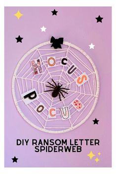 DIY Ransom Letter Spiderweb for fun and colorful Halloween Décor!