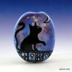 """STAR LIGHT, STAR BRIGH"" byKAYO a Handmade CAT Lampwork Art Glass Focal Bead SRA…"