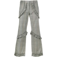 Simone Rocha Prince Of Wales Checked Trousers (838 AUD) ❤ liked on Polyvore featuring pants, capris, grey, high-waisted pants, cropped pants, high rise pants, high-waist trousers and high waisted floral pants