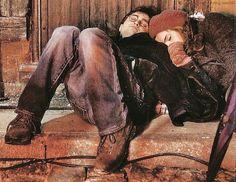 Emma Watson and Daniel Radcliffe asleep on set.