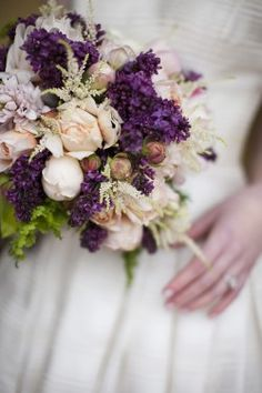 Purple and white Bride's Bouquet