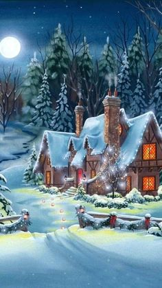 Winter Christmas Scenes, Christmas Scenery, Christmas Love, Winter Scenes, Winter Pictures, Christmas Pictures, Christmas Centerpieces, Christmas Decorations, Vintage Christmas Images