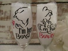 Bride and Groom Personalized Wedding Glasses ~ Champagne Flute Set for That Special Day ~ Keepsake Mementos Disney Inspired by BohemianLillyDesigns on Etsy