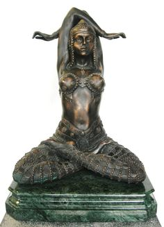 The Temple Goddess, a bronze. A beautiful art deco foundry cast bronze sculpture, titled `The temple goddess`. Cast from high quality copper bronze and set upon a rare Emerald Green marble base. Green Marble, Bronze Sculpture, Temple, Sculptures, Statue, Temples, Sculpture, Sculpting, Marbles