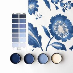 We're getting excited about showing off some of the range of wallpaper we have available at Resene ColorShops.   Watercolour Jacobean by Ashford Tropics perfectly paired with (from left) Resene Midnight Express, Resene True Blue, Resene Waikawa Grey and Resene Half Astra. #Resene #Resenewallpapers #Resenepaints