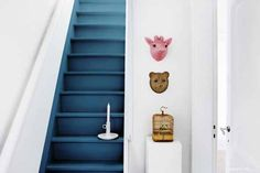 Levis teal stairs_Days of Colour_Poppinette Interior Stairs, Interior Design Living Room, Interior Decorating, Salisbury House, Stairs Colours, West Home, Painted Stairs, Under Stairs, Creative Home