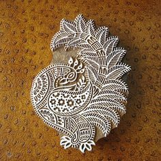 Huge Peacock Stamp: Hand Carved Wood Indian Printing Block, Bird Flower Animal, Large Wooden Textile Ceramic Tile Pottery Stamp, India Decor
