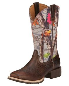 "Ariat Women's 11"" Hybrid Rancher Hot Leaf Camo and Brown Wide Square Toe Boos - Ladies Boots and Shoes - Ladies - #fall2015 #HOTLEAF"