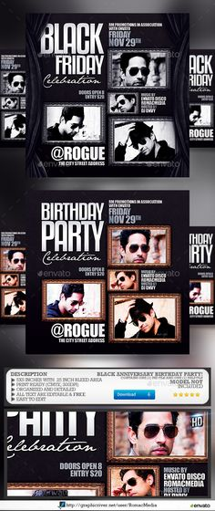All Black Birthday Party Flyer Template - Party Flyer Templates - birthday flyer template