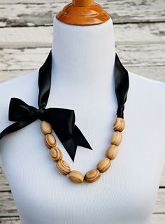 Emerson | Wood Bead & Black Ribbon Necklace