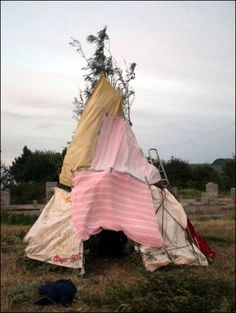 blanket tent / teepee  I will make one of these with my kids someday! These were awesome as a kid especially when the trees or bushes were so big to ply house under!
