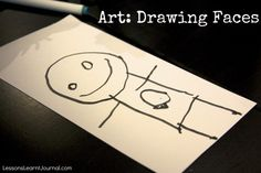 Help young children refine their representations when drawing faces by engaging them in conversation about their art.