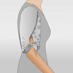 Jennifer Tulpenärmel Größe 34 bis 48 Mit Rollsaum Am Saum zum binden Überlappung am Oberarm Schnitterweiterung für Jennifer Baukasten 7System Schnittmuster und Anleitung zum Download