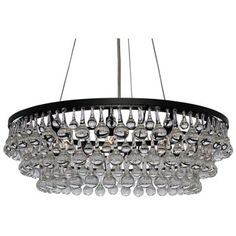 Hundreds of large clear glass drop crystals surround this beautiful chandelier. With 10 lights and a round frame this chandelier is sure to light up your home. Black Chandelier, Contemporary Chandelier, Modern Contemporary, Flush Mount Lighting, Home Lighting, Kitchen Lighting, Lighting Store, Room Lights, Dining Rooms