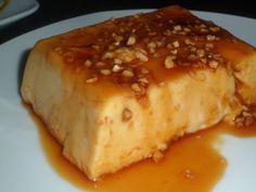 Flan de nata con turrón de jijona