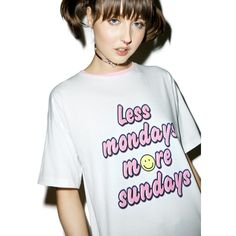 Sugarpills Less Mondays T-Shirt ($42) ❤ liked on Polyvore featuring tops, t-shirts, oversized t shirt, slouchy tee, round neck t shirt, oversized tops and bubble tee