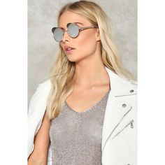 Nasty Gal Out of Sight Round Shades (€14) ❤ liked on Polyvore featuring accessories, eyewear, sunglasses, silver, nasty gal, rounded glasses, silver sunglasses, round metal frame glasses and round frame glasses