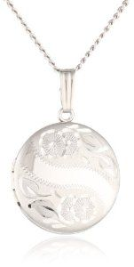 """Sterling Silver Engraved Round Locket, 18"""" - http://www.wonderfulworldofjewelry.com/jewelry/necklaces/lockets/sterling-silver-engraved-round-locket-18-com/ - Your First Choice for Jewelry and Jewellery Accessories"""