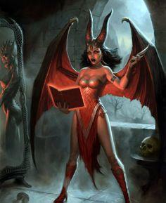 Demon girl art hot female demons succubus fantasy in Dark Fantasy Art, Fantasy Art Women, Fantasy Girl, Fantasy Artwork, Fantasy Character Design, Character Art, Tag Art, Female Demons, Satanic Art