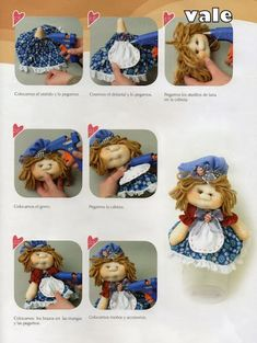 Revistas de manualidades Gratis: Revista para hacer muñecos gratis Wool Thread, Nylon Stockings, Soft Sculpture, Felt Ornaments, Diy Doll, Doll Accessories, Whimsical, Projects To Try, Lunch Box