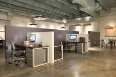 Open Office Design Best Workspace Nice Alternative to Traditional Cubicles Corporate Office Design, Office Cubicle Design, Fun Office Design, Office Ideas For Work, Cool Office, Office Interior Design, Office Interiors, Office Designs, Office Cubicle Decorations