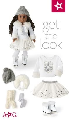 "NEW American Girl Let It Snow Outfit Black//White Winter Holiday Set For 18/"" Doll"