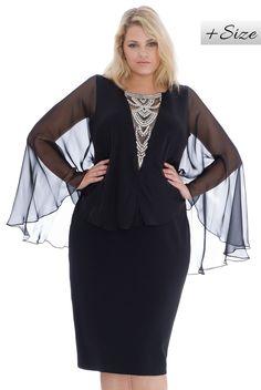 Plus Size Batwing Embellished Neckline Midi Dress - Black - Front - DR638P