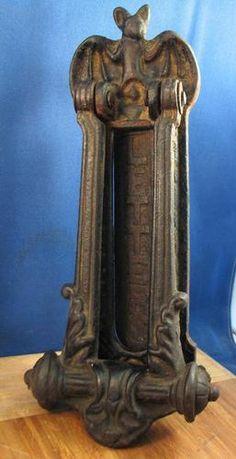 Cast Iron Door Knocker Bat w Letter Opener