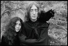 Yoko Ono and John Lennon with cat, Weybridge, Surrey, England, 1968 Photo copyright Ethan Russell