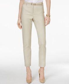 Charter Club Petite Belted Tummy-Control Slim-Leg Pants, Only at Macy's | macys.com