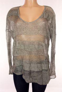 HELMUT LANG Sweater Size P XS Extra Small Silver Metallic Asymmetric Knit #HelmutLang #Crewneck