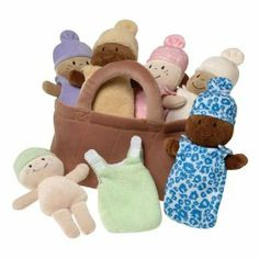 This adorable little set is a favorite at our house. We love that it is multicultural!! The little babies have removable nightgowns so you can also use them to practice color matching and fine motor dressing. Basket of Babies