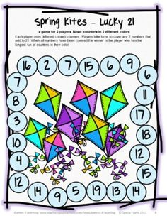 Spring Math Board Game for 2 players - Spring Math Games, Puzzles and Brain Teasers from Games 4 Learning. $