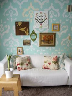 wallpaper and couch