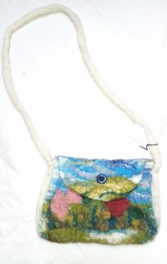Wet felted meadow scene bag with shoulder strap ♡ by WoolandWossit, £14.00