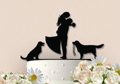Cute Couple with Dogs Cake Topper by ChrissCrosses on Etsy