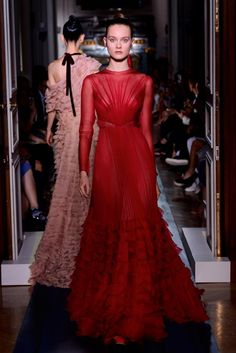 This holiday season make an entrance in a total red Valentino Haute Couture look, these evening gowns in the maison's iconic red will have you red carpet ready in minutes.  The couture heritage of the brand is present in the exquisite cut and drape of luxurious fabrics such as silk, chiffon and satin http://www.valentino.com