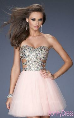 Short prom dress with silver detailing and cut outs